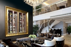 Gold frame wine wall