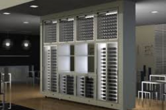Modern freestanding wine wall