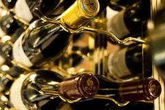 Vintage bottles in a rack